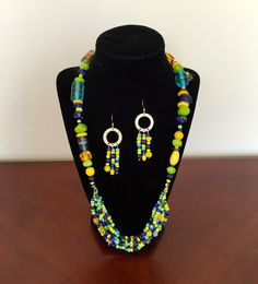 Contemporary Limegreen Blue and Yellow Glass Bead by Studio8115