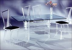 acrylic dining set - Double H Crystallized table and Venus Dining Chair - Muniz Plastics Glass Dining Table, Dining Table Chairs, Dining Furniture, Home Furniture, Furniture Sets, Dining Room, Furniture Market, Dining Sets, Acrylic Dining Chairs