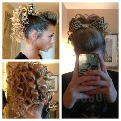 minus the tight curls Dance Hairstyles, Cute Hairstyles, Cheer Hair Poof, Game Day Hair, Cheer Makeup, Competition Hair, Bae, Cheer Outfits, Cheer Bows