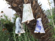 Porcelain Bell set of 3 handmade ceramic by ManuelaMarinoCeramic