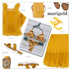 """""""To Ibiza dressed in Marigold"""" by arohii ❤ liked on Polyvore featuring Chloé, Barneys New York and marigold"""