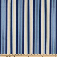 Waverly Siene Stripe Indigo from Screen printed on cotton, this medium weight fabric is appropriate for draperies, duvets, pillows…