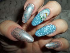 Vintage nails stamped with Moyra plates by Rita Korn, Fort Wayne, IN  4/29/16
