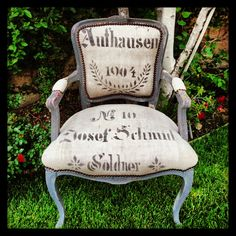 Antique French chair covered in an antique German grain sack