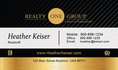 Gold Realty One Group Business Card Template Realty One Group