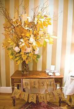 "Guests wrote well wishes to the couple and hung them on a ""wishing tree"". Photo: Jen Fariello."