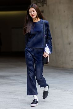 Pinstripe and platforms. #refinery29 http://www.refinery29.uk/2016/10/126995/street-style-seoul-fashion-week#slide-4