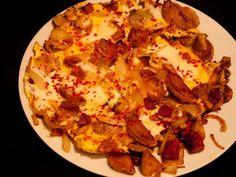 Szalonnás-hagymás tepsis krumpli
