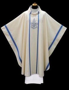 White Marian Chasuble Style ALB2203W49GRU - F.C. Ziegler Company