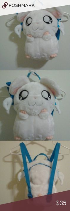 HAMTARO Bijou Anime Cosplaye Plush Backpack NEW !! NEW WITH TAGS Hamtaro anime plush Bijou backpack! CLEAN and in Perfect Condition. Has a zipper pocket on the back of the head, and blue adjustable shoulder/back straps. Kawaii! :) Hamtaro Bags Backpacks