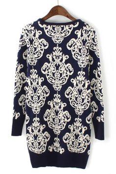Vintage Floral Printing Pullover Sweater