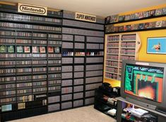 Home Decor For Small Spaces Video Game Room Ideas That Are Insanely Awesome.Home Decor For Small Spaces Video Game Room Ideas That Are Insanely Awesome Video Game Rooms, Video Games, Video Game Storage, Deco Gamer, Game Room Basement, Video Game Collection, Gaming Room Setup, Gaming Rooms, Console Cabinet