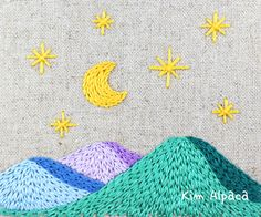 hand embroidery _ star stitch Night Landscape With the Moon & Stars Over Mountain Star Stitch, Stars And Moon, Hand Embroidery, Mountain, Kids Rugs, Landscape, Night, Stitching, Dressmaking