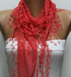 Scarf on ETSY (13.50 USD)  Haha- got this scarf when I was in Spain over the summer in blue, but mine looks so much nicer!