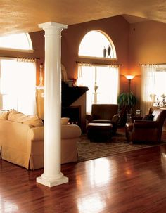 Brosco Columns & Porch Posts offer authentic architectural details perfect for both interiors and exteriors. Interior Columns, Architectural Columns, Interior And Exterior, Fiberglass Columns, Porch Posts, Porch Columns, Column Design, The Gables, Lowes Home Improvements