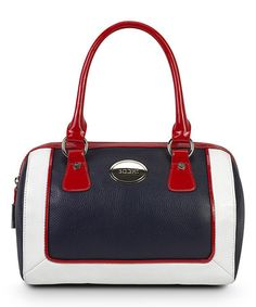 Love this Navy & Red Convertible Leather Satchel by BODHI on #zulily! #zulilyfinds