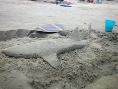 Shark sand sculpture made by my brother-in-law...check out more  @A Bui Artistry on Facebook