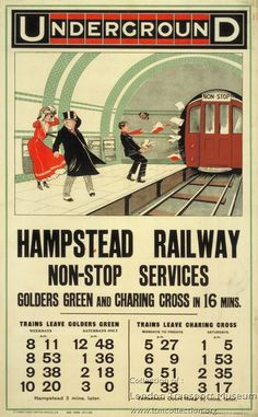 1000 Piece Jigsaw Puzzle (other products available) - LONDON: UNDERGROUND, <br>English poster for & Railway Non-Stop Services,& - Image supplied by Granger Art on Demand - 1000 Piece Jigsaw Puzzle made to order in the UK Vintage London, Old London, London City, Vintage Ads, London Underground Tube, London Transport Museum, Public Transport, London Poster, London History