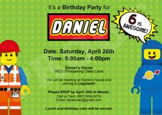 Lego Movie Birthday Invitation! Custom Printable Digital Download!  You pick characters and color! on Etsy, $8.00