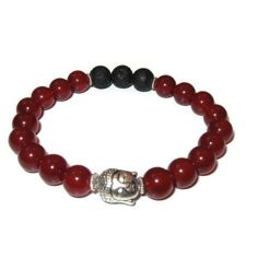 Carnelian Buddha bracelet with diffuser stones