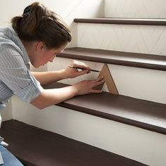 http://community.homedepot.com/t5/Indoor-Decor/How-to-make-a-chevron-pattern-on-stairs/m-p/65637#