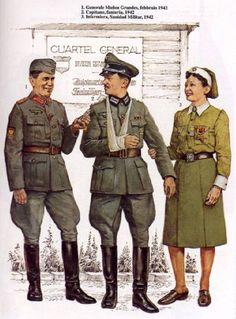 WEHRMACHT 250a Infanterie Division (Divisòn Azul). Einheit spanischer Freiwilliger der Wehrmacht - 1 Generale Munoz Grandes, 1942 - Capitano di Fanteria, 1942 - Infermiera, Sanità Militare, 1942