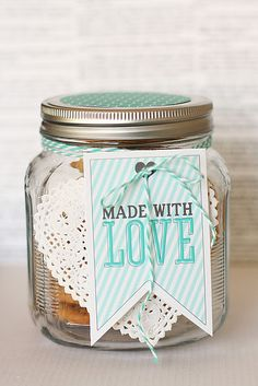 Made with Love Jar teal