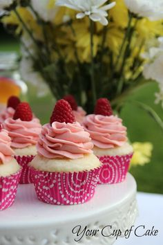 Vanilla and raspberry cupcakes