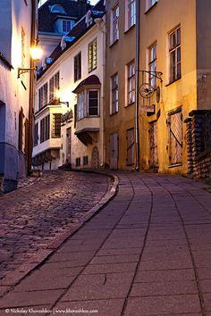 Old European sreet at night. Tallinn