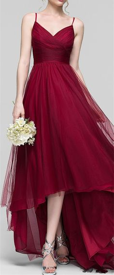 Charming Burgundy Tulle Homecoming Dresses,High-Low Spaghetti Straps Prom Dress,V-Neck Sleeveless Party Gown