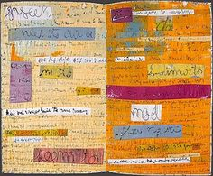 """Angela Moll -""""The pages of my Secret Diaries are actual journal entries screen printed on fabric. Collages, 2016 Diary, Calendar Journal, Scrapbook, Journal Entries, How To Dye Fabric, Illustrations, Beautiful Artwork, Fiber Art"""