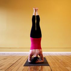 Bound Headstand: Begin with Bound Headstand. Your fingers are interlaced at the back of your head, and the top of your head is on the ground. Hold for five breaths.