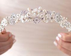 Floral Silver Tiara Bridal Hair Accessories Silver by USABride