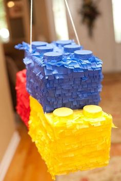 Boys Bright Lego Themed Birthday Party Pinata Ideas - Lego Games, Crafts, Party Ideas, Organization, and Learning - Lego Themed Party, Lego Birthday Party, 6th Birthday Parties, Boy Birthday, Lego Parties, Birthday Ideas, Birthday Cakes, Lego Ninjago, Ninjago Party