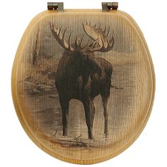 Quiet Water Moose Toilet Seat - Round