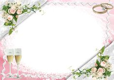 Transparent Pink Wedding Frame with Bubbly Glasses