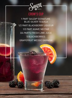 The blacker the berry, the sweeter the cocktail. Fresh blackberries and lime juice intensify blackberry liqueur and 100% agave tequila, giving your cocktail the perfect balance of tart and tang. Mix it up with more recipes on our website, us.sauzatequila.com.
