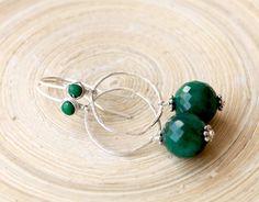Emerald sterling silver earrings. Organic shape by EverywhereUR
