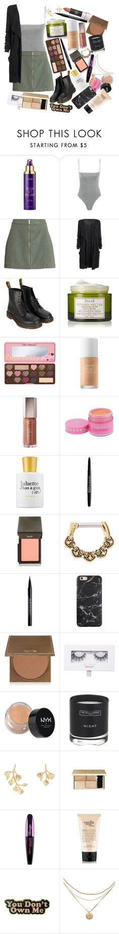"""Now I'm gone, gone and out of your life. Like a blood moon burning underneath the sun"" by thelyricsmatter ❤ liked on Polyvore featuring tarte, Dr. Martens, Fresh, Too Faced Cosmetics, Juliette Has A Gun, NYX, Jouer, Hot Topic, Urban Decay and Luz Lashes"