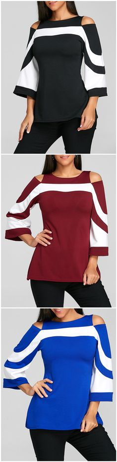 Flare Sleeve Cold Shoulder Two Tone Blouse, cute top, but not a fan of cold shoulder Love Fashion, Fashion Outfits, Womens Fashion, Looks Style, My Style, Cold Shoulder Blouse, Types Of Sleeves, African Fashion, Spring Outfits