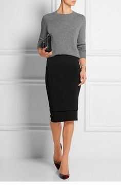 Grey blouse, pencil skirt and shoes Fashion Mode, Work Fashion, Womens Fashion, Trendy Fashion, Ladies Fashion, Fashion Ideas, Fashion 2018, Fashion Outfits, Fashion Stores