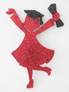 Grad girl cutout red with black accents - Designs by Ginny