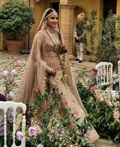 Bollywood actress Anushka Sharma in bridal look at Italy Indian Bridal Lehenga, Indian Bridal Outfits, Indian Bridal Fashion, Indian Fashion Dresses, Indian Designer Outfits, Bridal Dresses, Pink Bridal Lehenga, Indian Designers, Designer Clothing