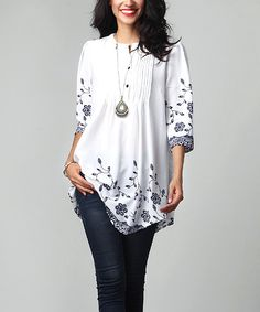 Look at this White Floral Chiffon Notch Neck Pin Tuck Tunic by Reborn Collection Pretty Outfits, Pretty Dresses, Fall Outfits, Fashion Outfits, Womens Fashion, Work Casual, Casual Wear, Chiffon Floral, Blazer With Jeans