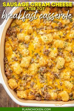 Sausage Cream Cheese Tater Tot Breakfast Casserole - great make-ahead recipe! Sausage, cream cheese, cheddar cheese, tater tots, eggs, milk, garlic, onion, and black pepper. Can refrigerate or freeze for later. Great for breakfast. lunch or dinner. Everyone loves this easy breakfast casserole!! #tatertots #sausage #breakfast #brunch #casserole #freezermeal Tater Tot Breakfast Casserole, Brunch Casserole, Sausage Breakfast, Breakfast For Dinner, Breakfast Dishes, Casserole Recipes, Breakfast Recipes, Breakfast Ideas, Cream Cheese Breakfast