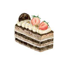 Cake Sketch, Desserts Drawing, Dessert Illustration, Arte Disney, Food Illustrations, Cake Art, Insta Art, Food Art, Contemporary Art