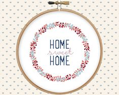 Home sweet home cross stitch pattern pdf - home sweet home embroidery - instant download - digital download - floral, lettering, wreath