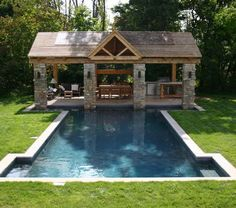 Apartments: Lovely Backyard Swimming Pool Designs Feat Rustic Outdoor  Gazebo With Brick Stone And Wooden Dining Table Chair Also Black Wicker  Sofa, Patio ...