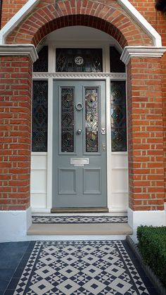 Front Door Brick House Victorian Black And White Mosaic Tile Path Battersea York Stone Rope Edge Buxus London Front Garden Front Door Stepshouse Front Door Paint Colors Red Brick House Navy Front Door Front Door Steps, Front Door Porch, Front Door Entrance, House Front Door, Glass Front Door, House Entrance, Front Path, Front Entry, Doorway
