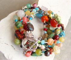 Semi Precious Stone Bracelet. Multi Strand Semi by JensBeadBox